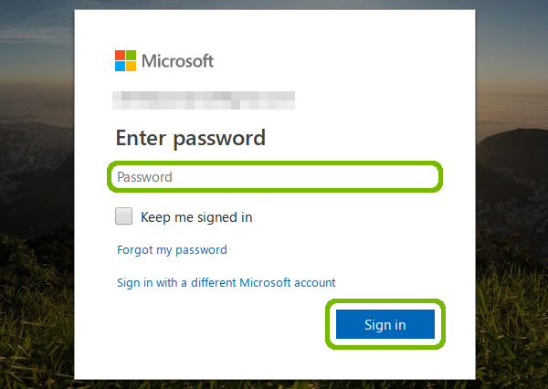 Microsoft sign in with password and Sign in button highlithed.