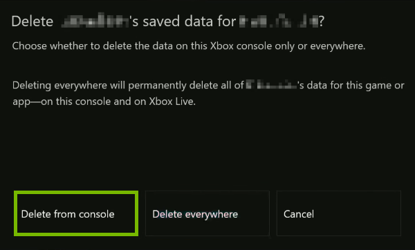 Delete from console option highlighted on prompt.