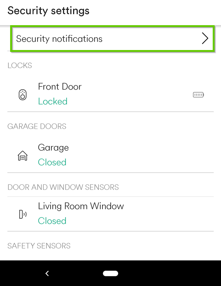 security notifications