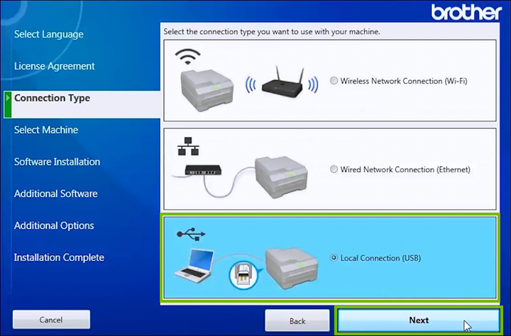 Printer connection type selection screen.