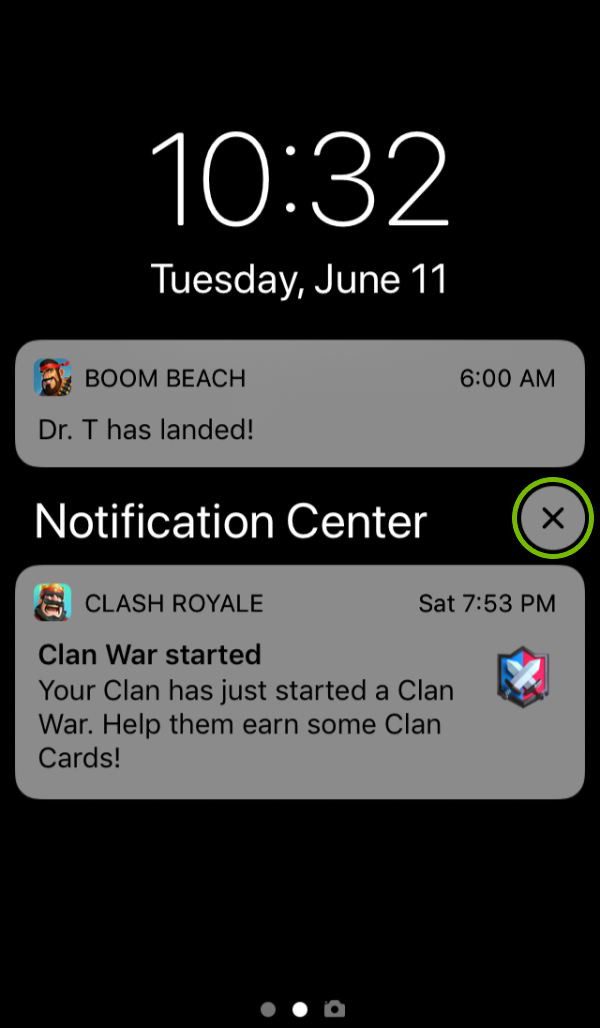 X on group of notifications