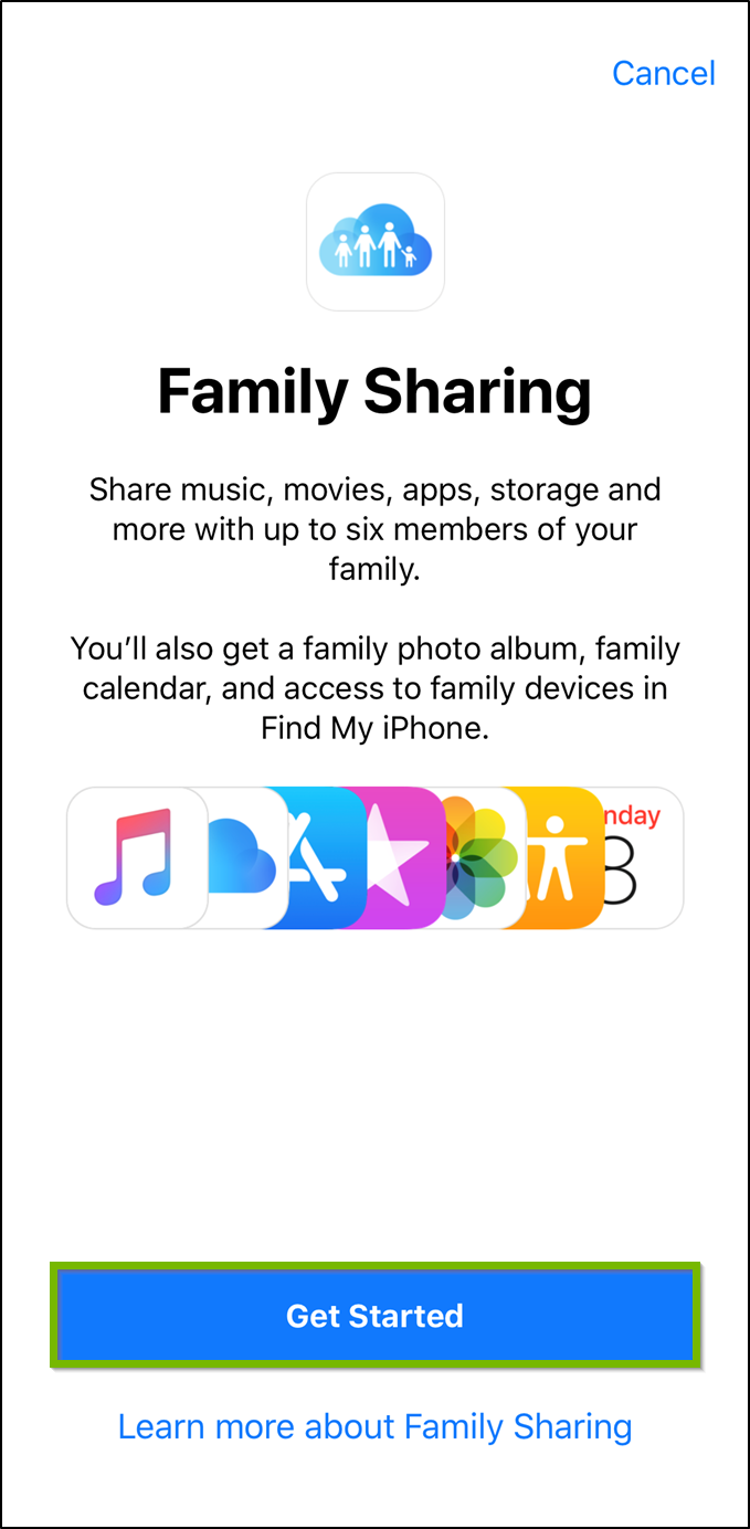 iOS Family sharing welcome screen with get started button highlighted.