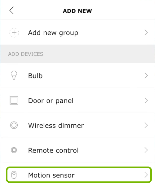 Motion sensor option highlighted in Ikea Tradfri app.