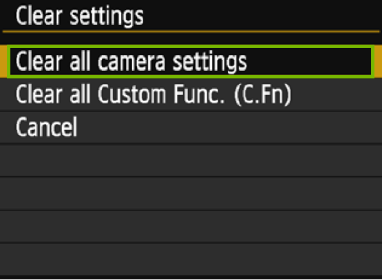 menu with clear all camera settings