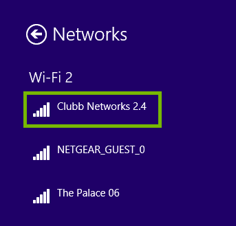 List of networks with an example Wi-Fi network highlighted.