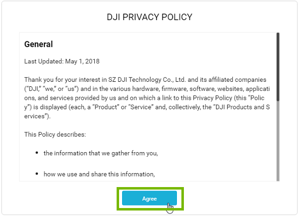 Privacy Policy with Agree highlighted. Screenshot