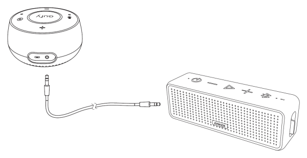 Eufy Genie connected to external speaker.