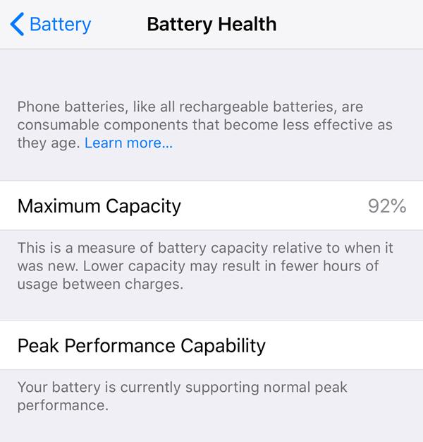 Battery health assessment screen.