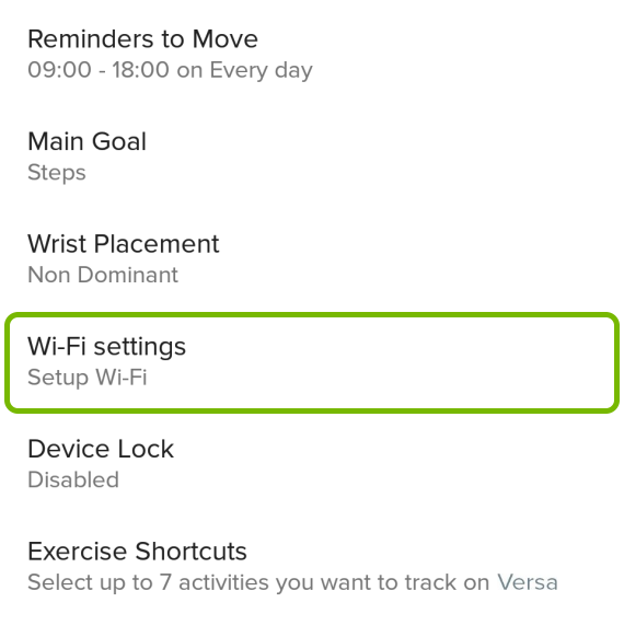 WiFi Settings highlighted in Versa options of Fitbit app.