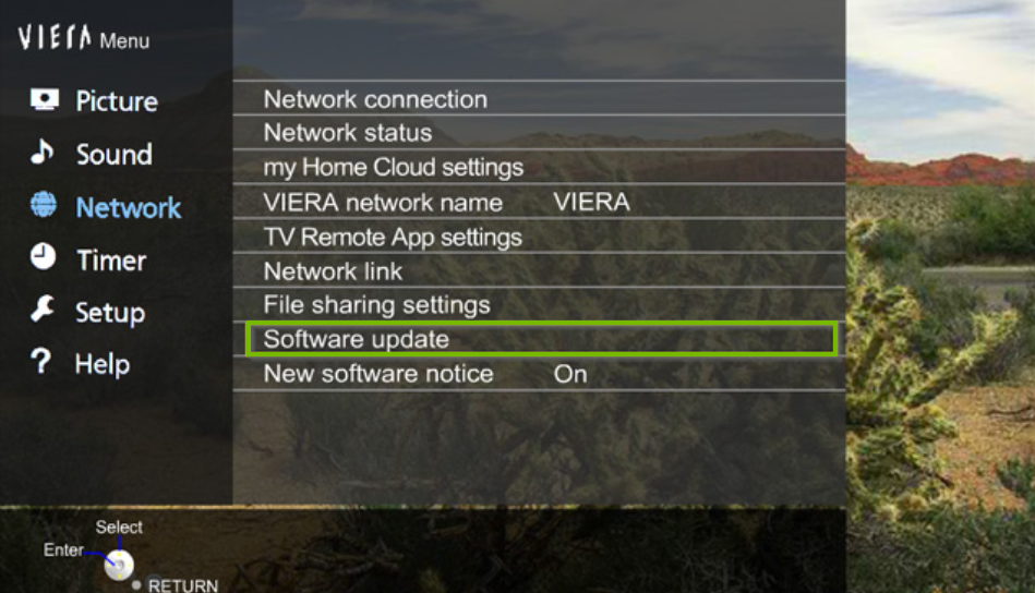Panasonic TV network menu with the software update option highlighted.
