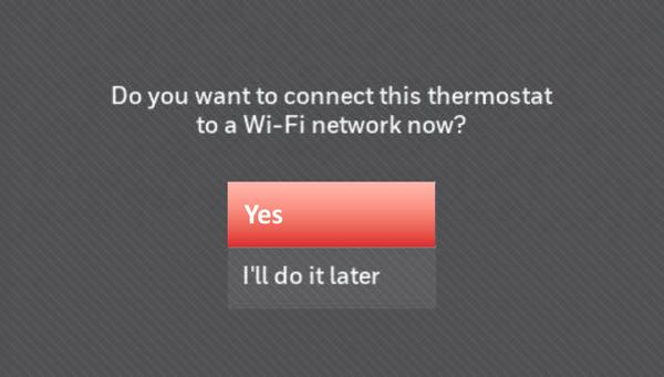 Wi-Fi setup query screen.