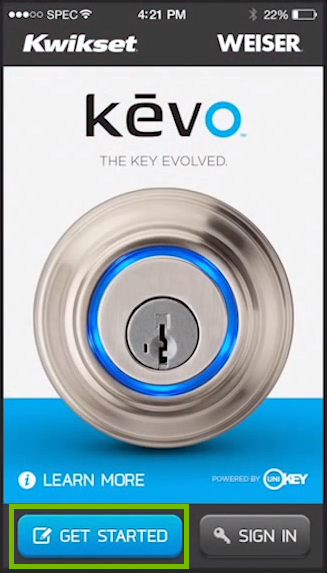 Screenshot of Kevo program with get started button highlighted