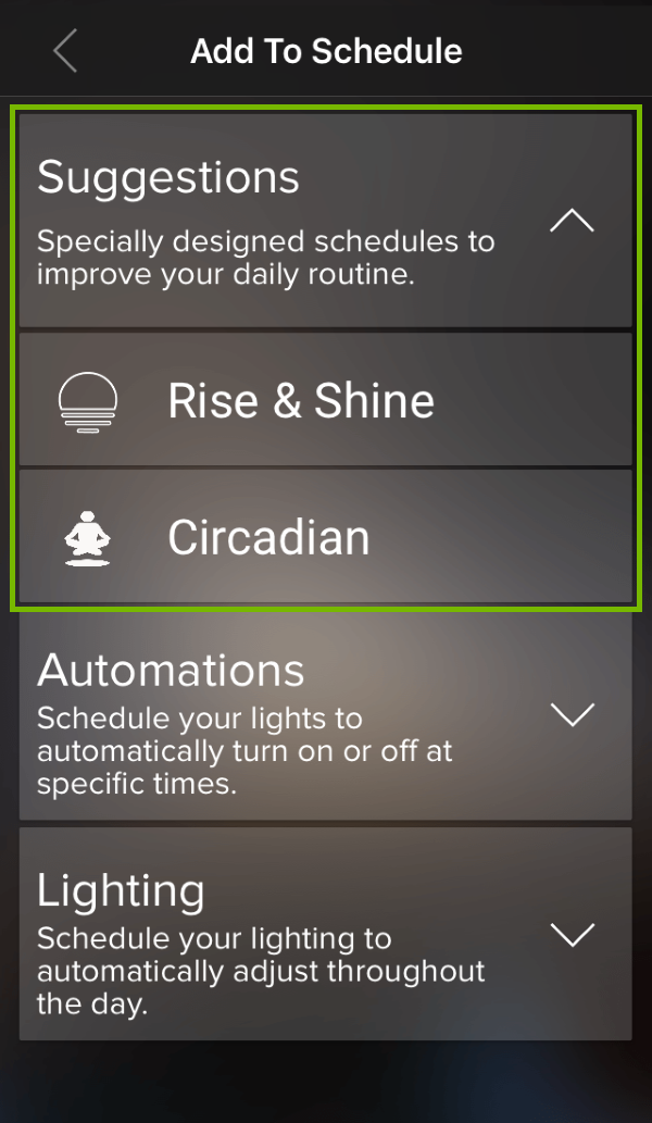 Schedule Suggestions highlighted in ilumi app.