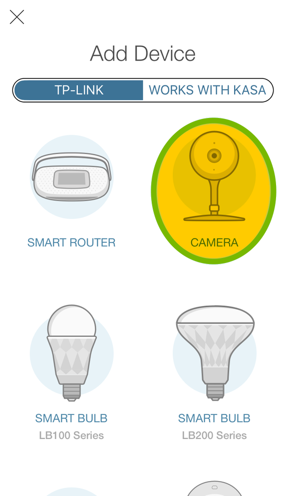 Camera highlighted in device selection list of Kasa app.