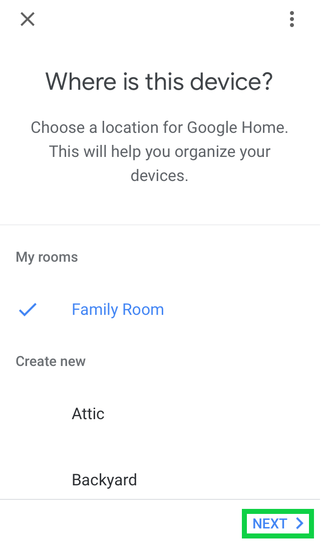 Where is the device with a list of rooms and Next highlighted