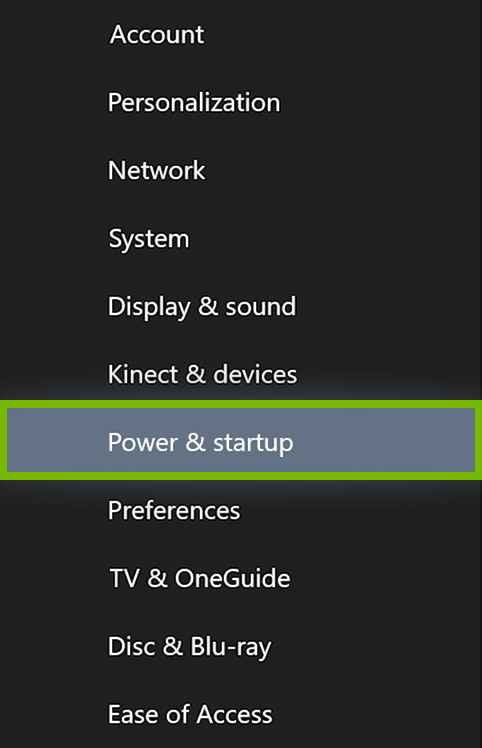Power & startup option highlighted in Xbox menu.