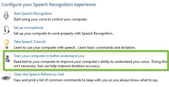 Windows 10 control panel for speech recognition