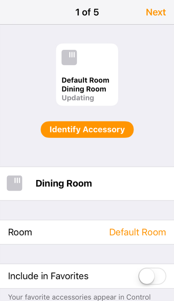 Device options for added device in Home app.