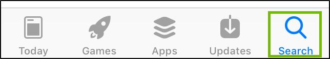 App Store Search Button.