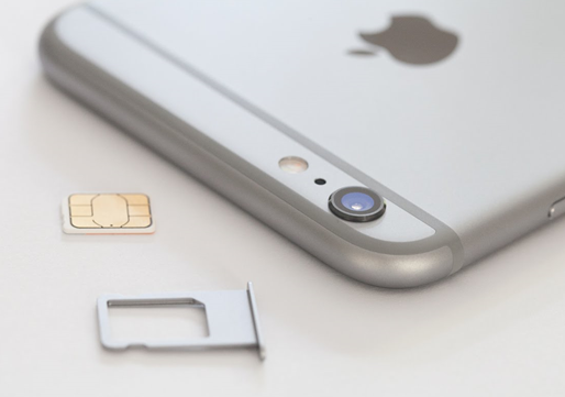 iPhone and a removed sim card.
