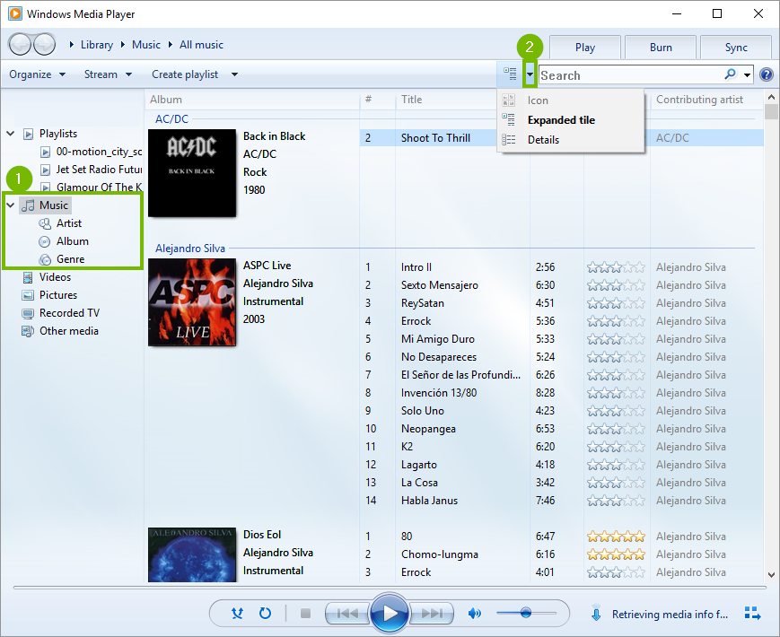 Windows media player browse music library options.