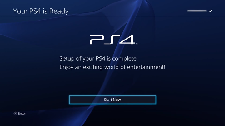PlayStation 4 setup completion screen.