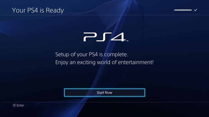 PlayStation 4 setup completion screen.