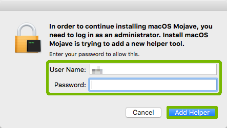 Access prompt with Username Password and Add Helper button highlighted.