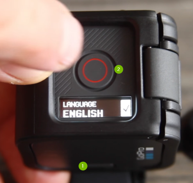 GoPro menu with English checkmarked.