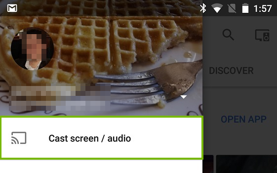 Cast screen and audio button