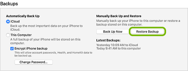 Restore Backup button highlighted in iTunes.