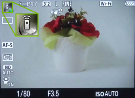 Camera screen with remote icon highlighted