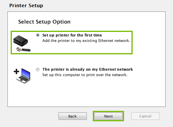 Printer setup method selection screen.