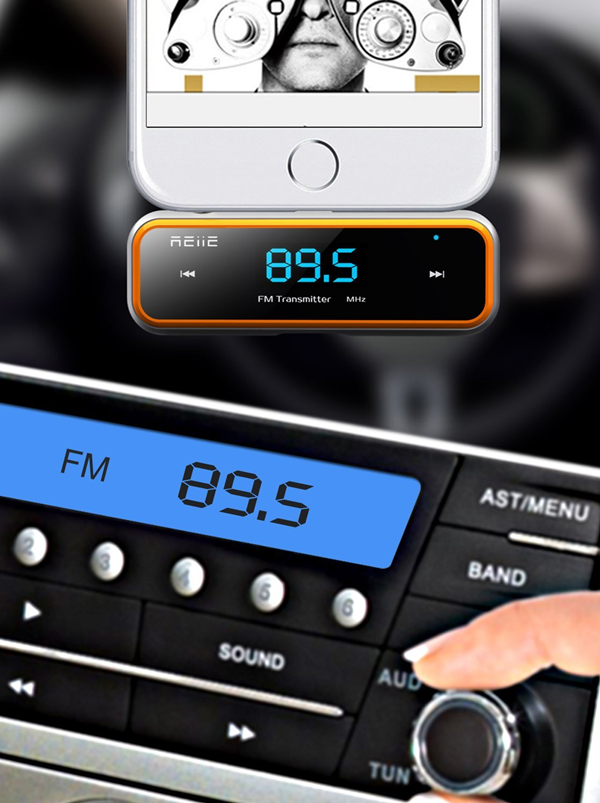 Car Stereo FM Tuner set to same frequency as FM Transmitter.