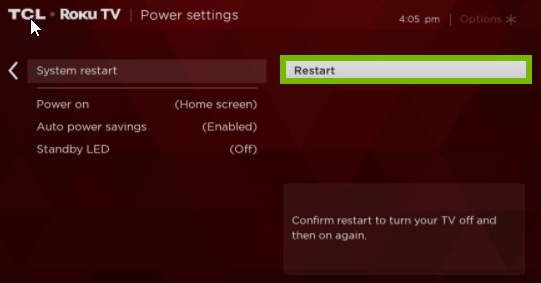 Roku TV menu with Restart option highlighted.