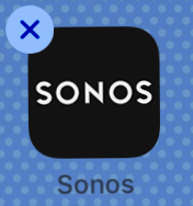 Screenshot of the Sonos icon with the delete icon in the corner
