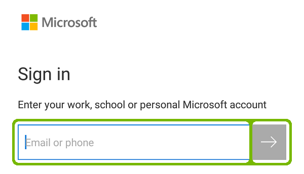 Microsoft account sign-in with Email and Arrow highlighted.