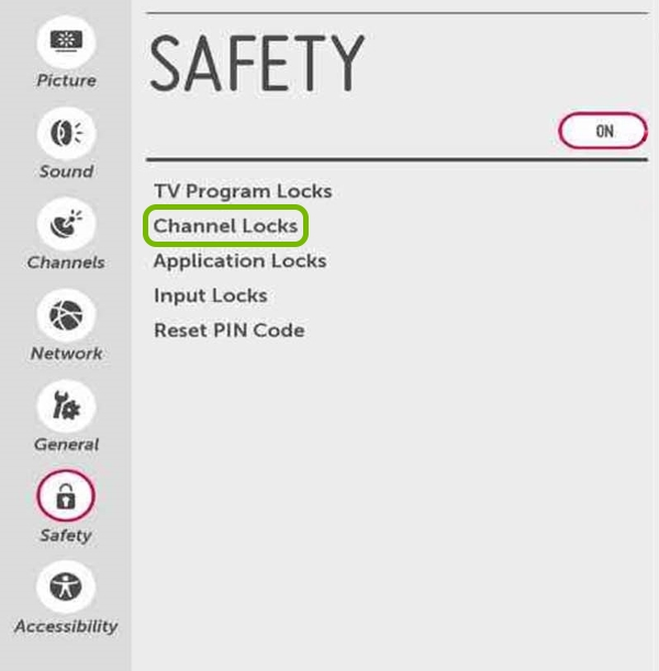 Channel Locks option highlighted in Safety settings of LG Smart TV.