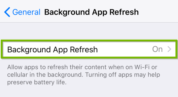 Background App Refresh settings with Background App Refresh highlighted.