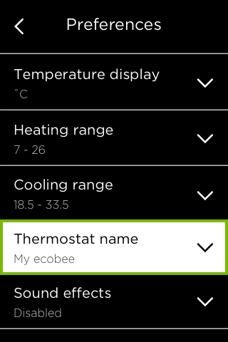 Thermostat Name option highlighted in ecobee Preferences.