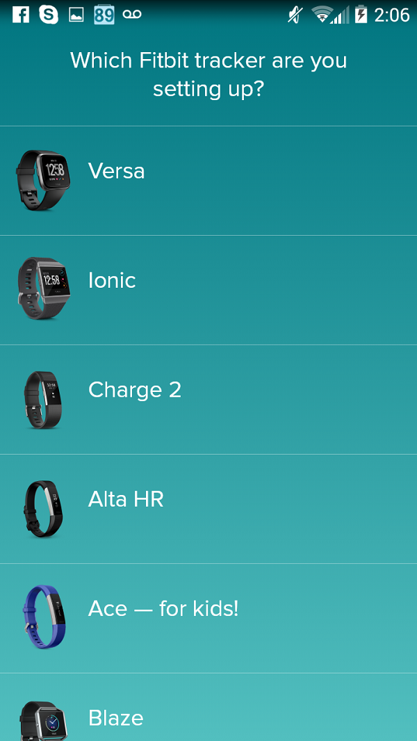 Fitbit tracker selection. Screenshot