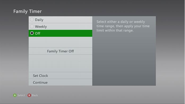 The family timer menu