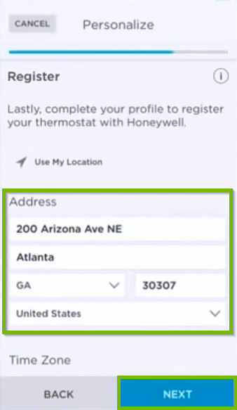 Thermostat registration screen.
