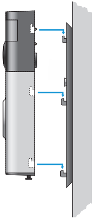 Diagram of installing doorbell onto backplate hooks