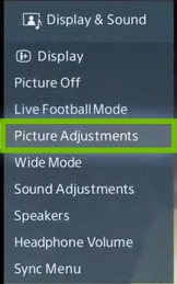 Display and Sound menu with Picture Adjustments highlighted.