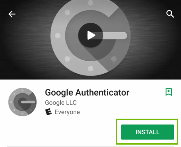 Google Authenticator App page with Install highlighted.