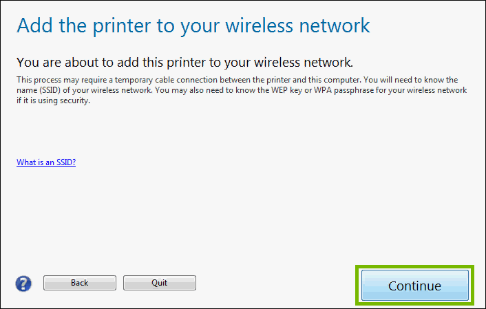 Add printer to wireless network with next highlighted