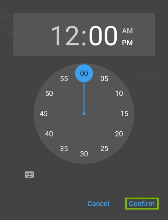 Time settings with Confirm highlighted