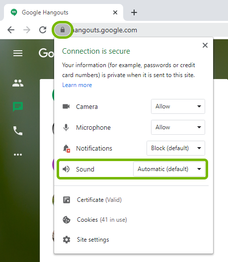 Sound option highlighted in permissions list for loaded website in Google Chrome.