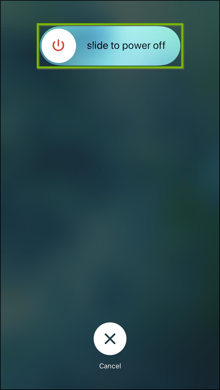 iOS Slide to power off screen.